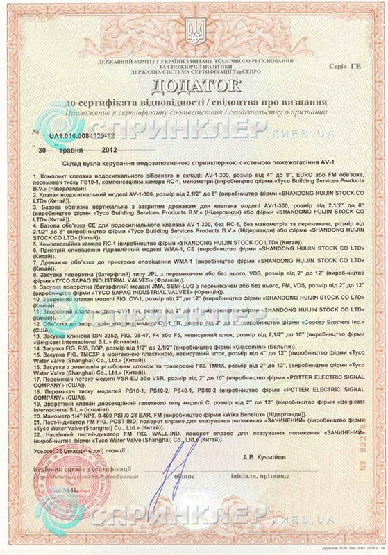 Сертификат Tyco AV1 300 додаток TYCO AV 1 300